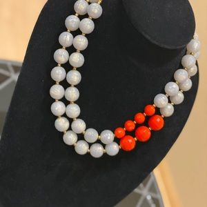 Lia Sophia Red and Grey Beaded Necklace